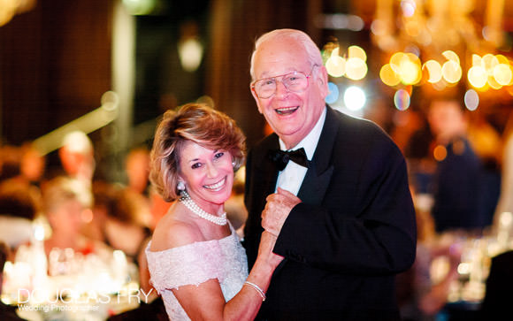 Mother and father dancing at jewish wedding at the Dorchester Hotel