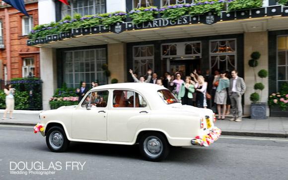 car leaving claridges at end of wedding