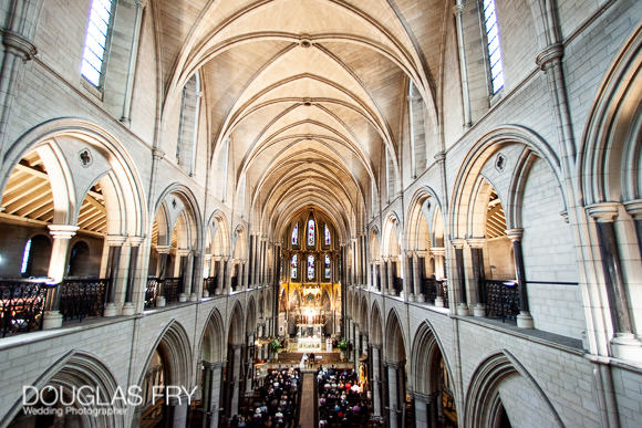 Church photographed from above during wedding in London