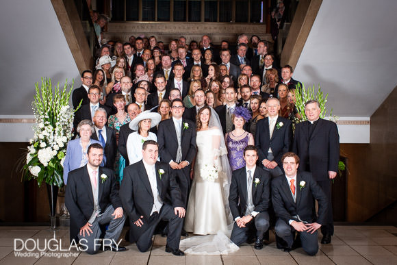 Wedding party pictured together at RIBA