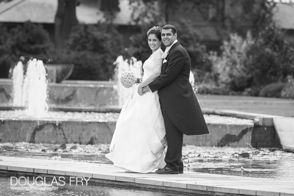 black and white wedding photograph at the Grove Hotel