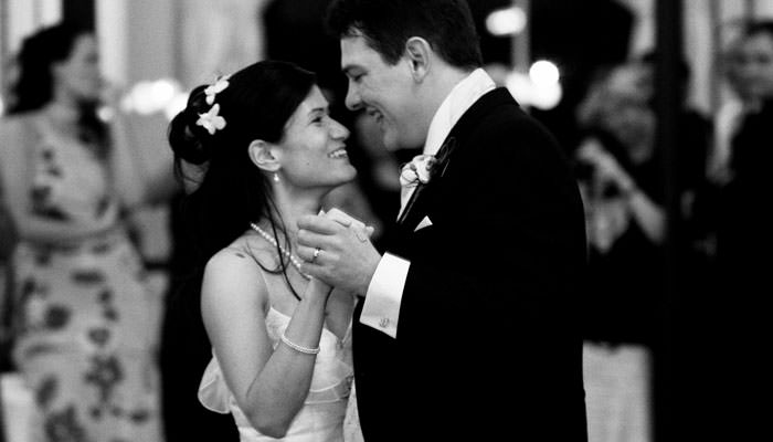 Wedding Photograph of bride and groom dancing at Heythrop Park, Oxfordshire