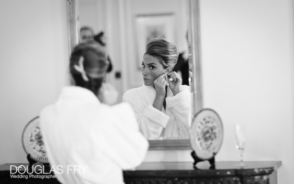 Bride getting ready for wedding - black and white photography