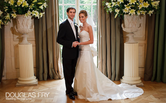 Formal photograph of bride and groom together in London