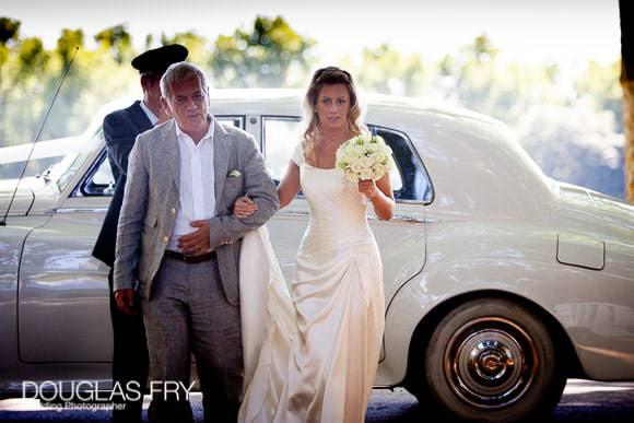 Bride arriving by rolls royce