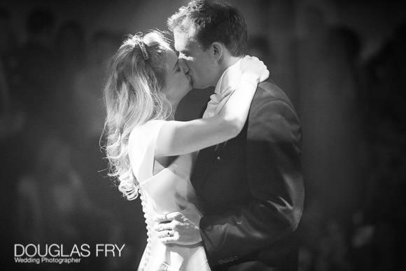 Romantic kiss on dance floor