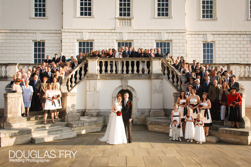 Wedding Photographer Queens House - Greenwich - Formal photograph on steps
