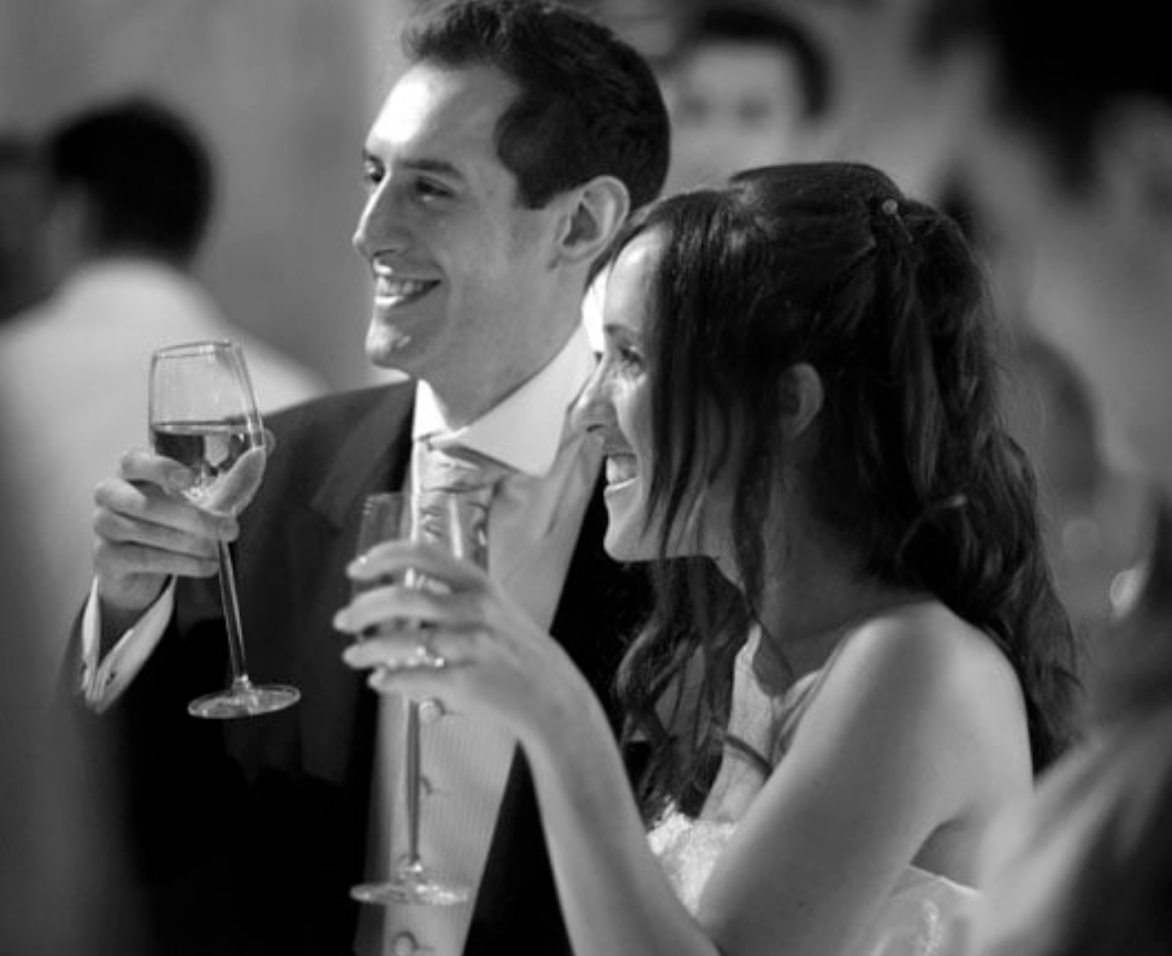 couple drinking champagne during wedding at the Grove Hotel photographed by Douglas Fry wedding photographer