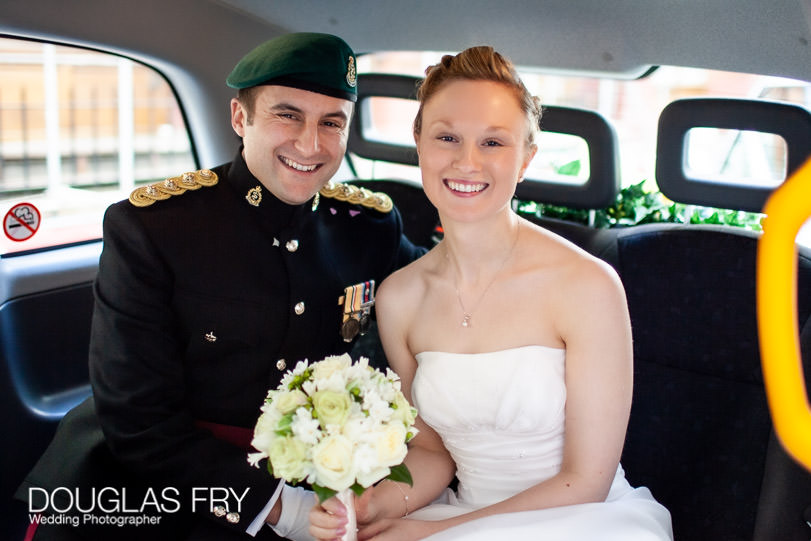 Wedding Photographer HAC in London - Honourable Artillery Club - taxi journey