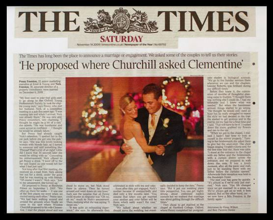 Penny Wedding Photograph Featured in The Times Newspaper