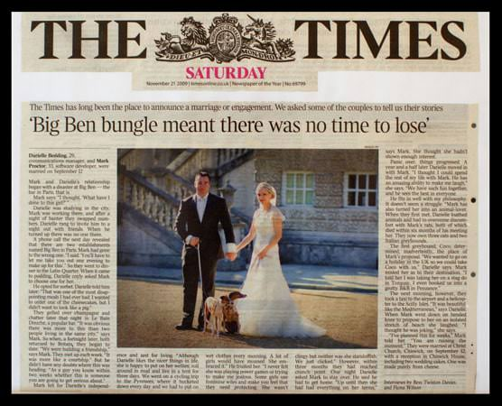 Wedding Photograph featured in the Times Newspaper - picture of the article