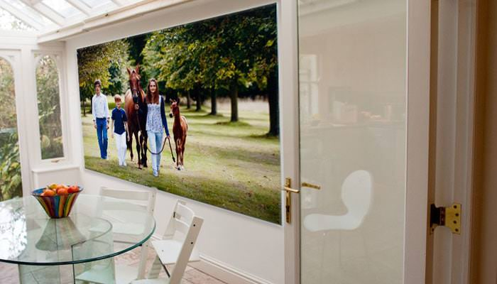 Wall canvas printed photograph of family with horses
