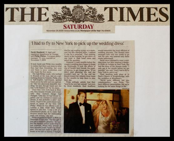 Sarah Wedding Photograph Featured in The Times Newspaper