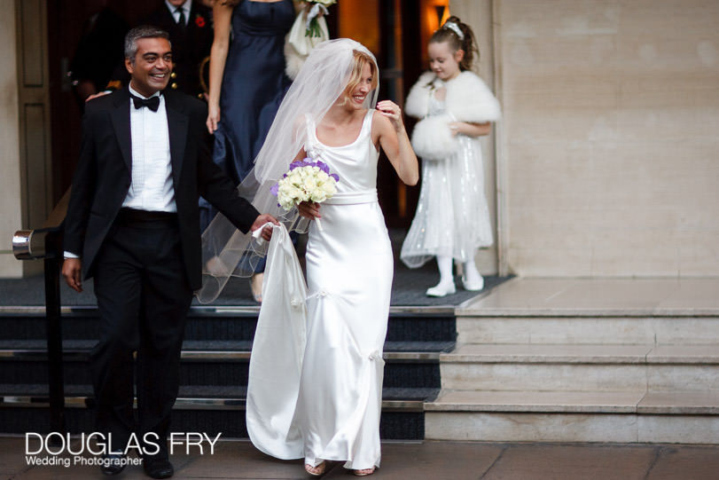 Bride arriving at wedding at St Paul's Knightsbridge