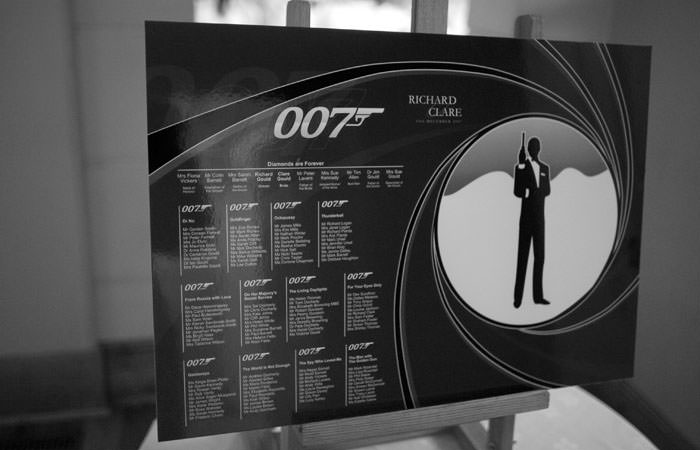 Wedding seating plan james bond theme bond wedding theme for 007 table decorations