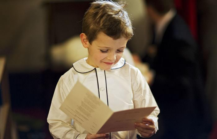 Page boy at wedding ceremony in London