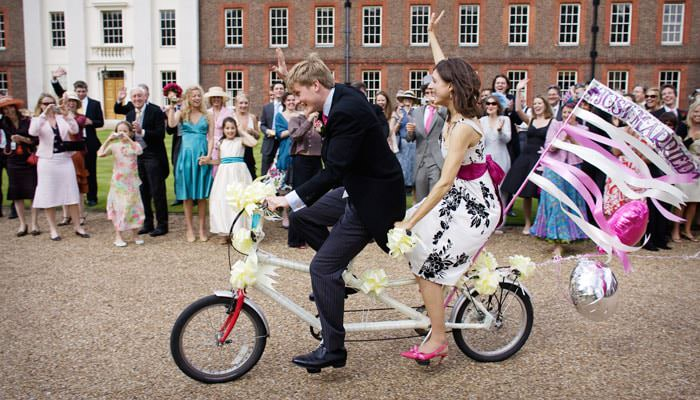 Tandem Bicycle for Going Away at London Wedding 1