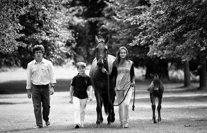 Family photographs of the children at home with mare and foal 2