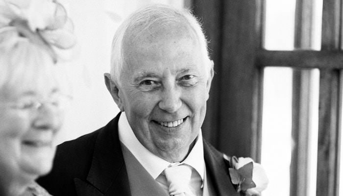 Black and white wedding photograph of father at Shrewsbury, Shropshire