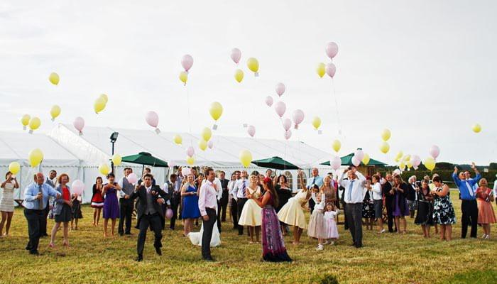 Releasing balloons - photograph taken in Shrewsbury Shropshire