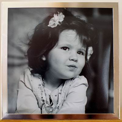 Black and White Portrait Photograph of Child