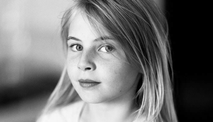 Family Portrait Photographer - Photograph of Girl in Black and White
