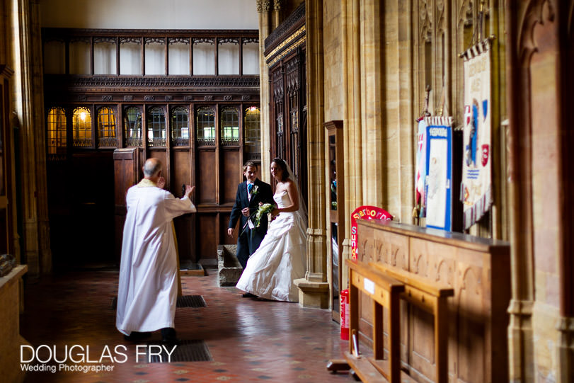 Wedding Photographer - Sherborne Abbey - Dorset - Bride and groom leaving the Abbey