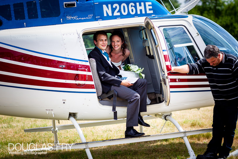Hellicopter for bride and groom to travel to Dorset wedding reception near Sherborne