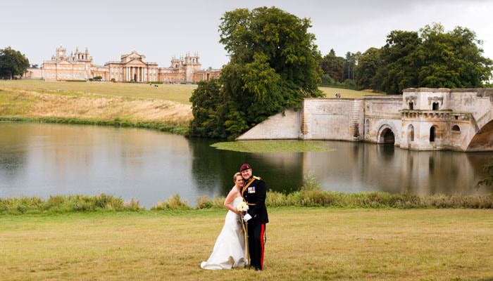 Wedding Photograph of Bride and Groom by the Lake, Blenheim Palace, Oxfordshire