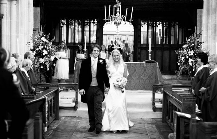 Wedding photograph - black and white in Church, Wiltshire