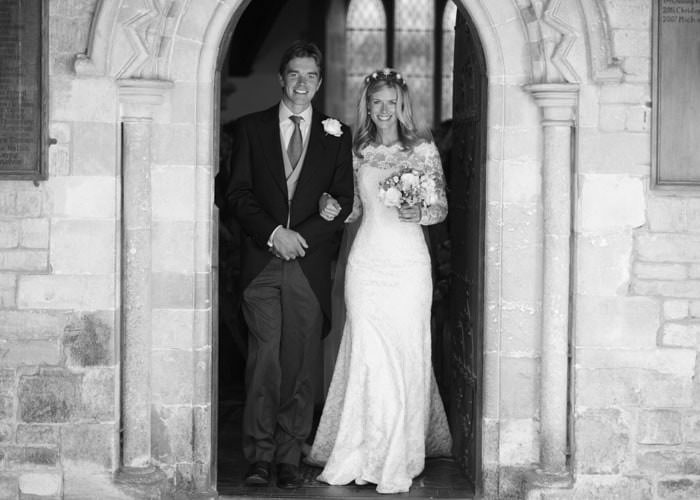 Wedding Photograph of bride and groom at Kemble church in black and white