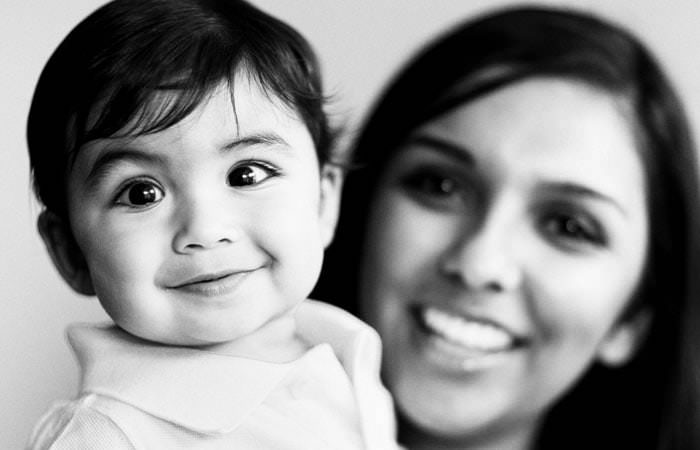 Family Portrait Photograph fo Aadi in black and white