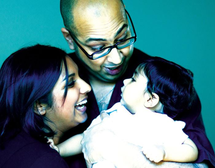 Family Portrait Photograph of Baby Aadi and Mum and Dad