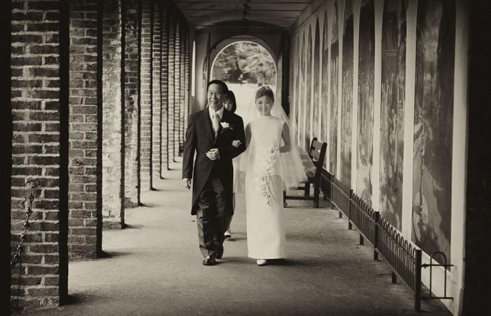 Photograph of Bride and Father at The Belvedere, Holland Park, London