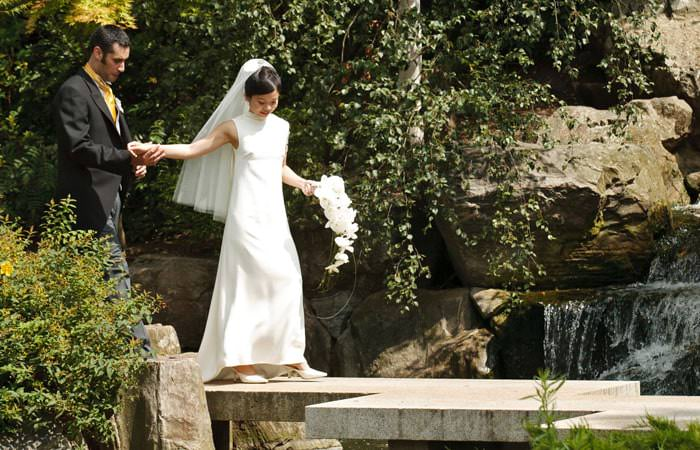 Wedding Photograph of Bride and Groom in the gardens at the Belvedere, Holland Park, London