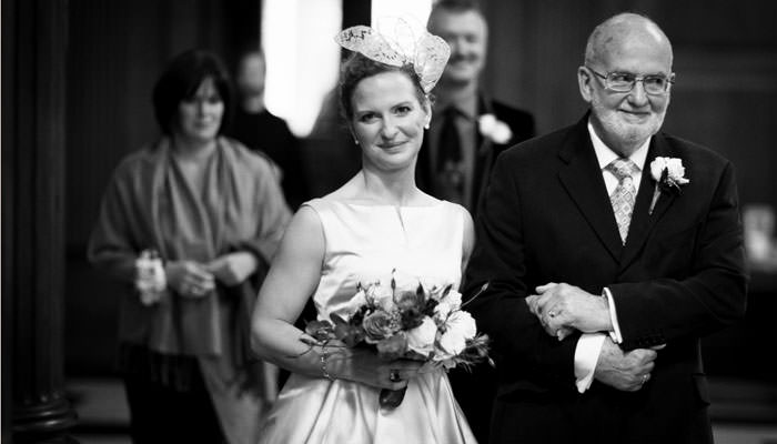 Bride and father photograph at wedding St Mary Le Bow, London in black and white
