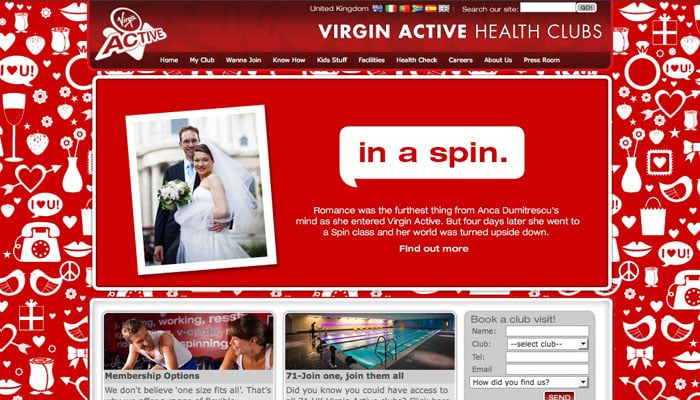 Valentine Wedding Photograph on Virgin Active Website