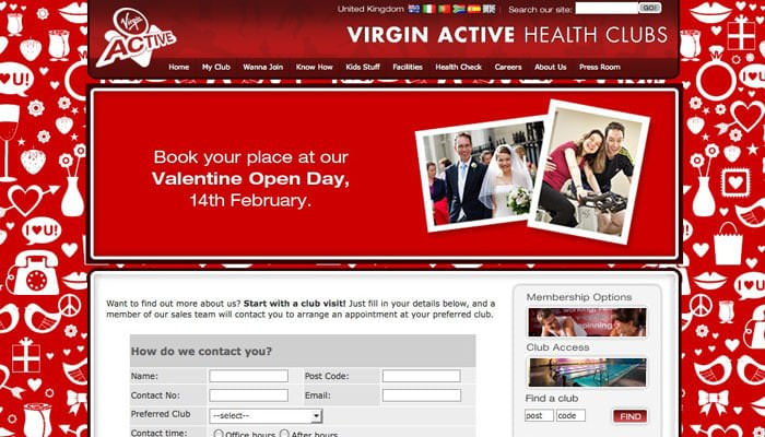Valentine Wedding Photograph on Virgin Active Website 2