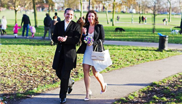 Wedding Photograph in London Walking in Park