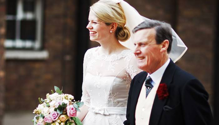 Wedding Photograph of Bride and Father in Pall Mall, London