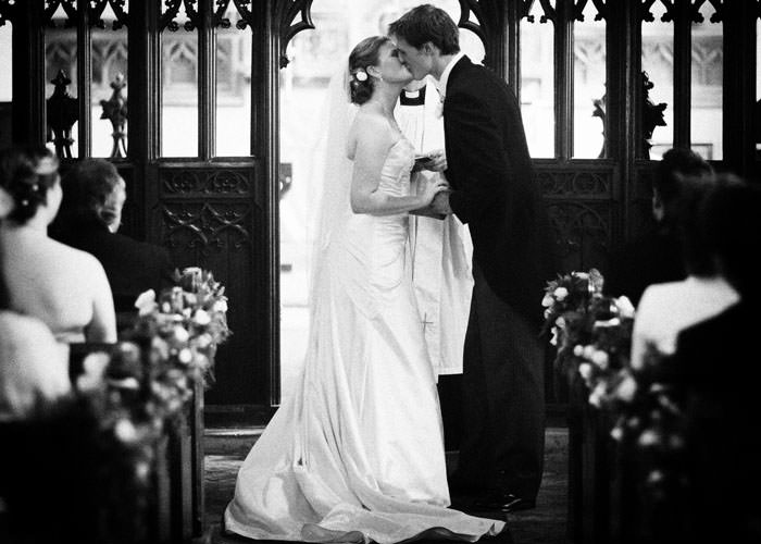 Leicestershire Wedding Photograph Kiss in Church