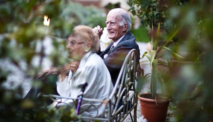 Elderly Couple Photographed at Wedding in Italy
