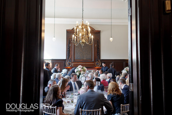 Guests seated at wedding reception in London
