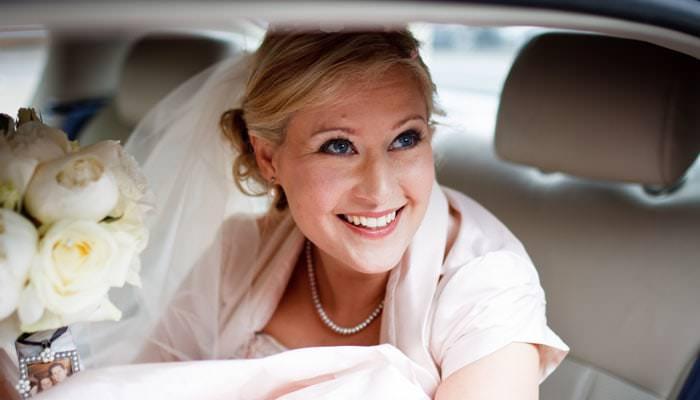 Wedding Photograph - Bride in Car at Hurlingham Club, Fulham, London