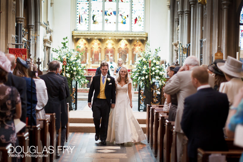 Leaving fulham palace wedding service in church