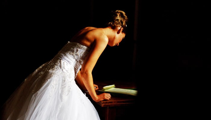 Wedding Photograph of Bride at Cobham Hall, Kent