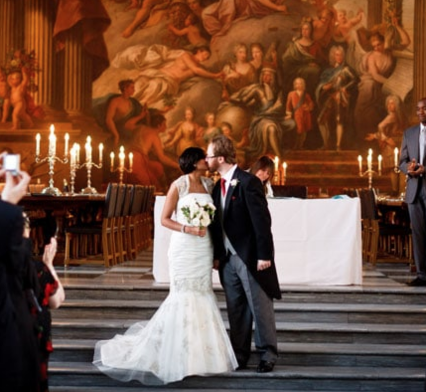 Painted Hall - couple kissing during wedding day