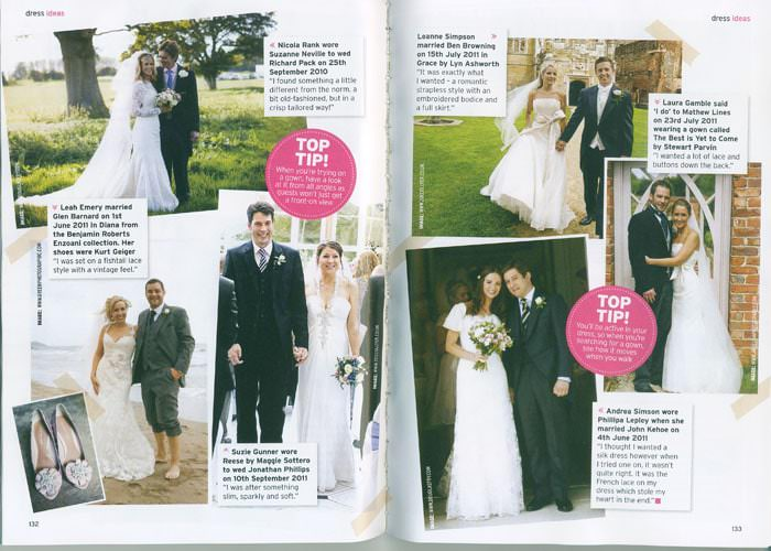 Wedding Dress Photographs in Perfrect Wedding Magazine Edition