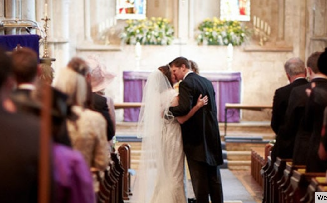 church service wedding photograph
