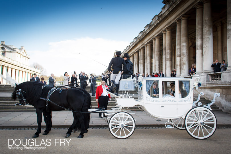 Wedding Photograph Speeches at The Painted Hall London, Greenwich - Horse and carriage